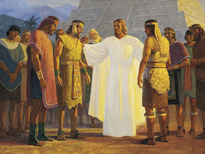 Christ with Three Nephite Disciples (Cristo con los tres discípulos nefitas) by Gary L. Kapp