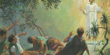 """Angel Appears to Alma and the Sons of Mosiah"" (Ángel se aparece a Alma y los hijos de Mosíah) por Jerry Thompson, vía Gospel Media Library"