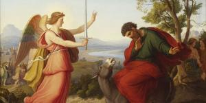Balaam and the angel (Balaam y el ángel), pintura por Gustav Jaeger, 1836 a través de Wikipedia