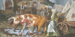 Mary Fielding Smith and Joseph F. Smith Crossing the Plains, (Mary Fielding Smith y Joseph F. Smith cruzando las llanuras) por Glen S. Hopkinson a través de lds.org