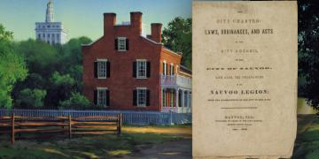 Painting of the Heber C. Kimball home in Nauvoo by Al Rounds. Image of the Nauvoo Charter from the Library of Congress.